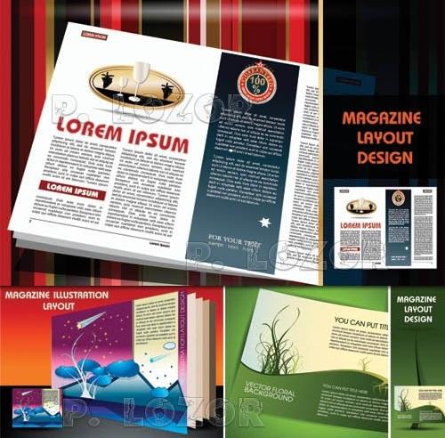 دانلود 10 وکتور طرح و قالب آماده مجله Magazine pages layout design vector