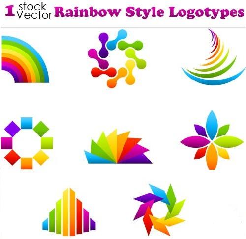 دانلود وکتور لوگو های زیبای رنگین کمانی Rainbow Style Logotypes Vector
