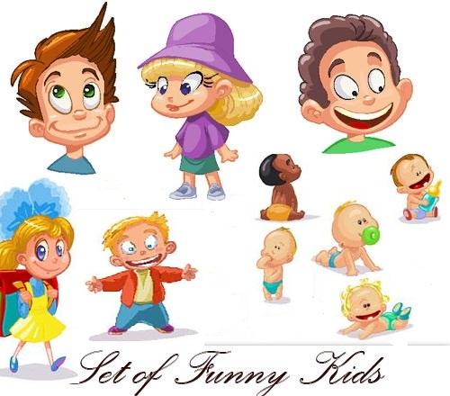 دانلود 5 تصاویر وکتور نقاشی زیبا از کودکان Set of funny kids