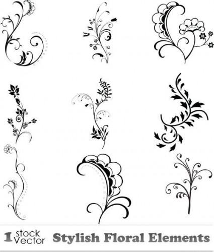 دانلود تصاویر وکتور گل و بوته Stylish Floral Elements Vector