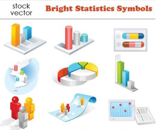 دانلود وکتور نمودارها و گراف ها و سمبل های آماری Vectors - Bright Statistics Symbols