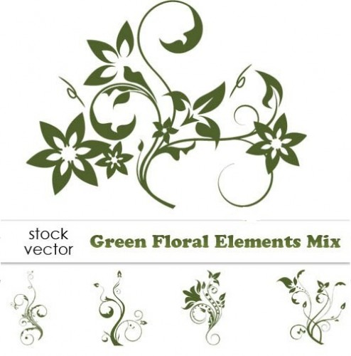 دانلود وکتور سبز میکس گل وبوته Vectors - Green Floral Elements Mix