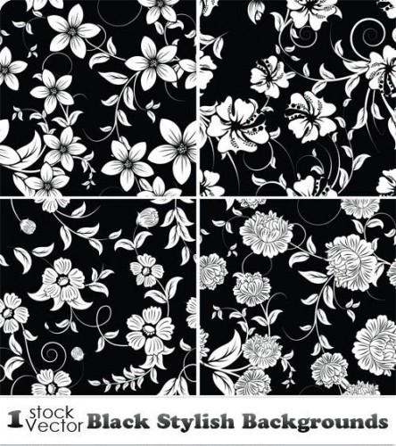 دانلود تصاویر وکتور بکگراند تیره Black Stylish Backgrounds Vector