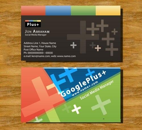 دانلود کارت ویزیت لایه باز با طرح گوگل پلاس Business Cards - Google Plus PSD