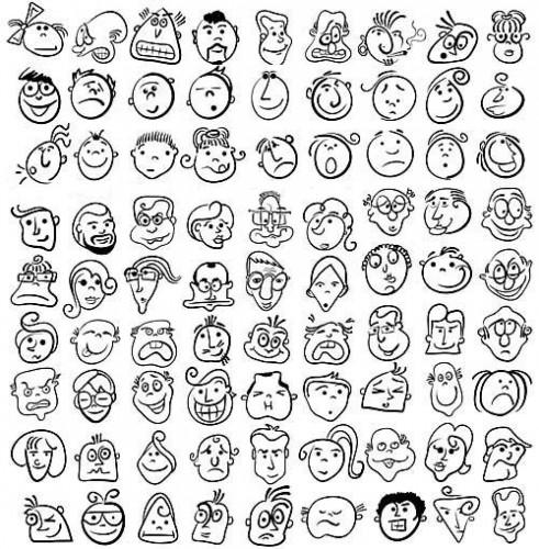 دانلود تصاویر وکتور صورت و چهره های کارتونی Cartoon people face