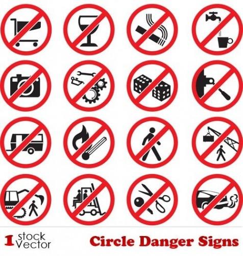 دانلود تصاویر وکتور تابلو و علائم خطر و ممنوع Circle Danger Signs Vector