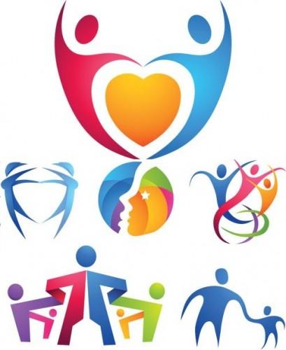 دانلود وکتور لوگو آدمک های رنگی Color Human Logotypes Vector