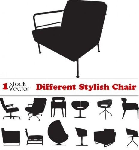 دانلود تصاویر وکتور سیاه از انواع صندلی Different Stylish Chair Vector