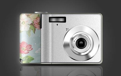 دانلود طرح لایه باز دوربین دیجیتال در 4 طرح مختلف Digita Camera With 4 Floral Pattern