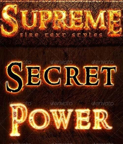 دانلود استایل یا افکت آتش متن فتوشاپ Graphicriver Supreme Fire Text Styles