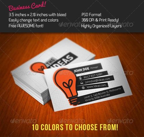 دانلود کارت ویزیت لایه باز با نام ایده ها Ideas Business Card  - Graphicriver