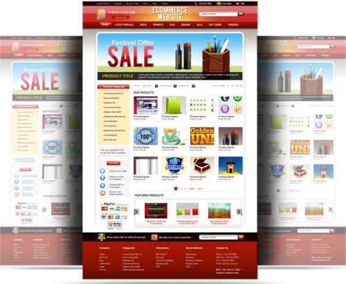 دانلود قالب لایه باز سایت فروشگاهی و تجاری PSD Ecommerce Website Template