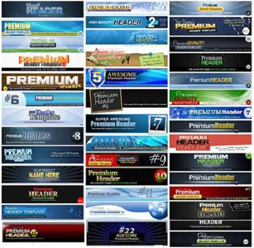 دانلود 100 هدر لایه باز زیبا برای سایت Premium Photoshop PSD Headers