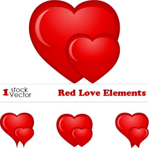دانلود وکتور های گرافیکی قلب Red Love Elements
