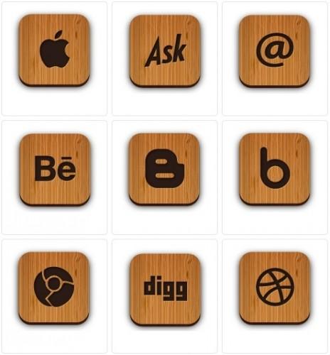 دانلود 51 آیکون زیبای چوبی سایت ها و شبکه های اجتماعی Wooden Social Icons