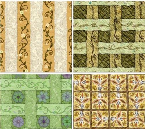 دانلود تکسچر و بافت های چهارخانه و راه راه گلدار Strips of paper - seamless textures