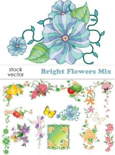 دانلود استوک وکتورهای گل به همراه کادرو حاشیه گل Vector - Bright Flowers Mix