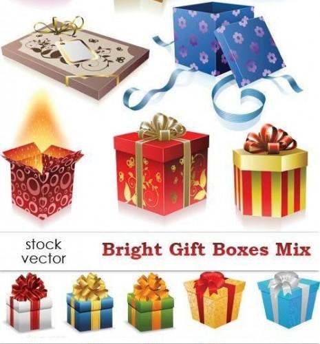 دانلود تصاویر وکتور بسته و جعبه های کادو و هدیه Vectors - Bright Gift Boxes Mix