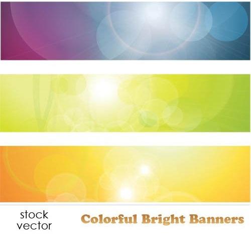 دانلود تصاویر وکتور بنر های رنگارنگ Vectors - Colorful Bright Banners