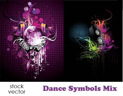 دانلود تصاویر وکتور مربوط به موسیقی و رقص Vectors - Dance Symbols Mix