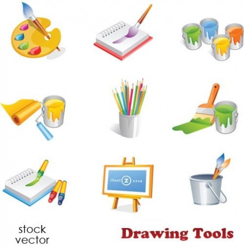 دانلود وکتور ابزار و وسایل نقاشی Vectors - Drawing Tools