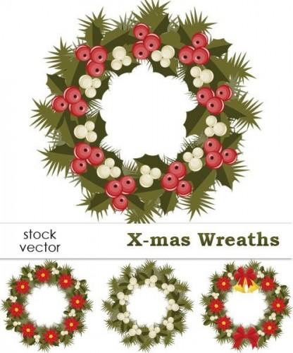 دانلود وکتور حلقه های گل و سبزه Vectors - X-mas Wreaths