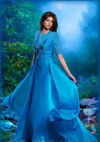 دانلود طرح و قالب عکس خانم ها با لباس آبی زیبا Women's Photoshop templates - A beautiful blue dress