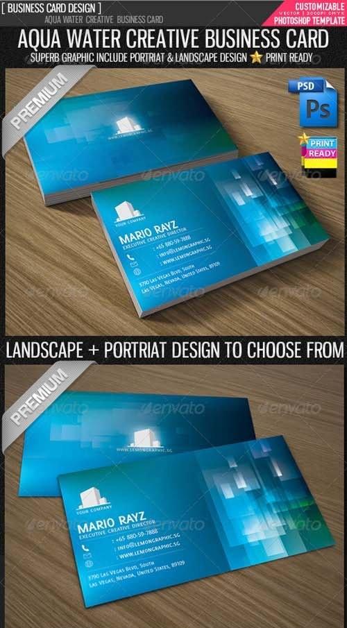 دانلود طرح لایه باز کارت ویزیت آبی Aqua Water Corporate Business Card - GraphicRiver
