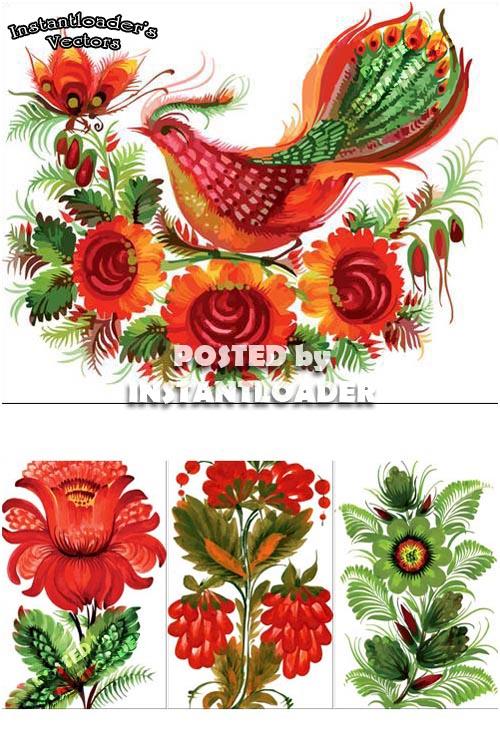 دانلود طرح های استاک وکتور بسیار زیبا از گل وپرنده Beautiful Vectors - StockPhotos