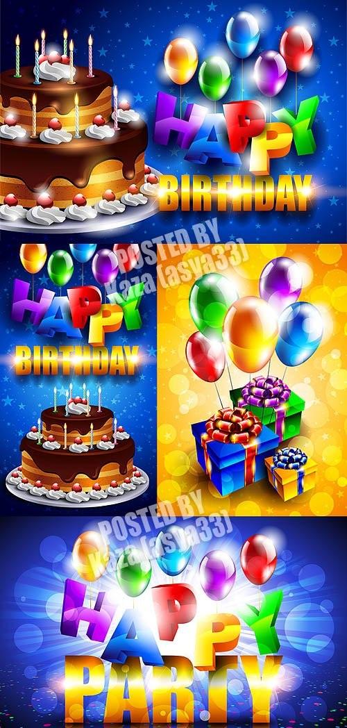 دانلود وکتور های با موضوع تولد Birthday cards vector