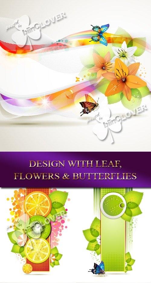 دانلود تصاویر وکتور طراحی شده با برگ گل و پروانه Design with leaf, flowers and butterflies