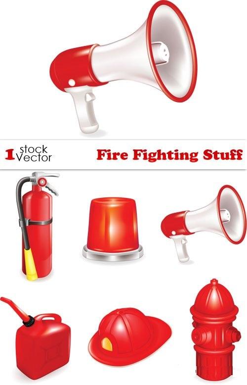 دانلود وکتور ابزار و وسایل آتش نشانی Fire Fighting Stuff Vector