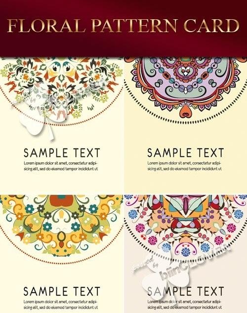 دانلود الگوهای وکتوری گلدار زیبا Floral pattern card