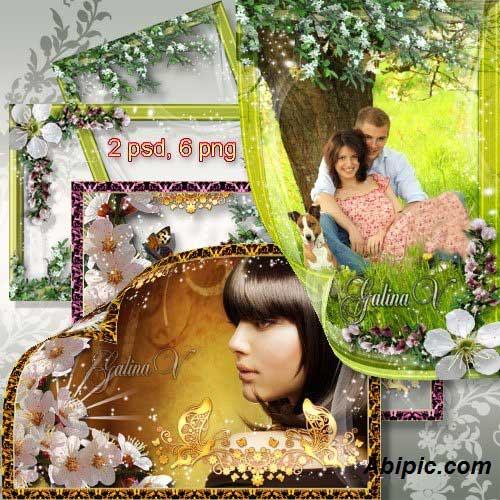 دانلود فریم و قاب عاشقانه طراحی شده با شکوفه های بهاری Frames for Photo - Blossoming Trees