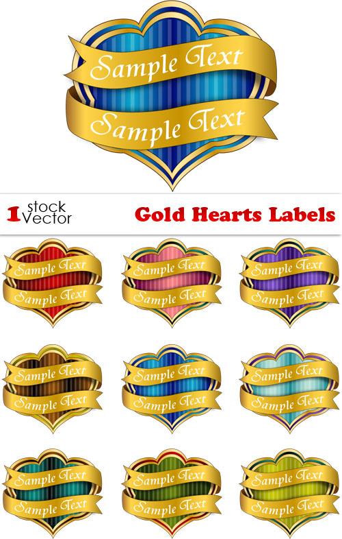 دانلود وکتور لیبل ها و برچسب های طلای رنگ به شکل قلب Gold Hearts Labels Vector