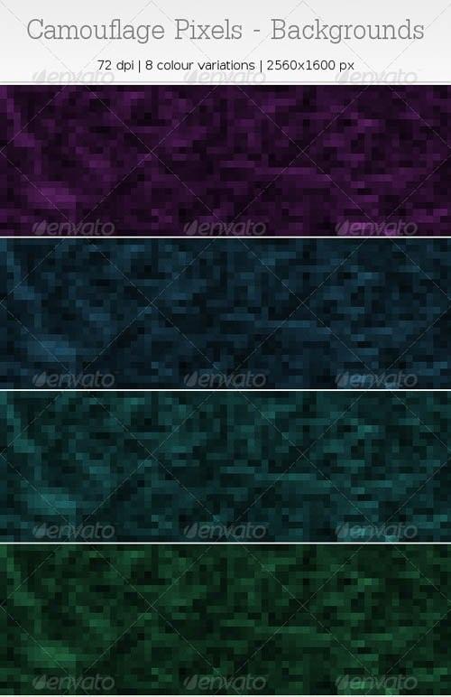 دانلود تصاویر پس زمینه طراحی با بافت پیکسلی GraphicRiver   Camouflage Pixels Backgrounds