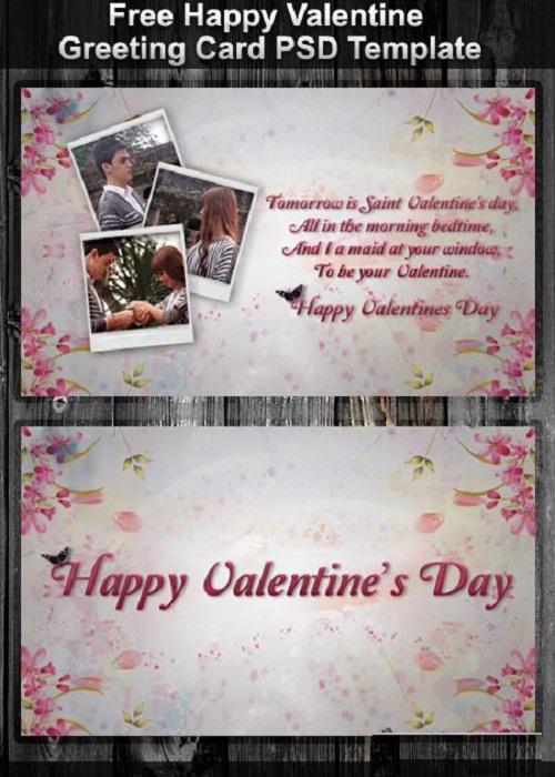 دانلود کارت تبریک های لایه باز مخصوص ولنتاین Happy Valentine Greeting Card PSD Template