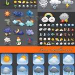 دانلود مجموعه آیکون های آب و هوا و هواشناسی Icons weather