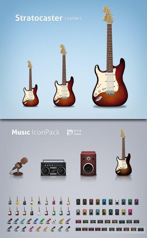دانلود آیکون و تصاویر لایه باز ابزار و وسایل موسیقی Music Icon Pack & Guitar Classic PSD Source File