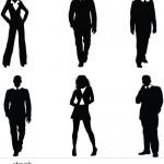 دانلود تصاویر وکتور سیاه و سفید از مردم People Silhouettes Vector