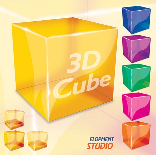 دانلود طرح لایه با مکعب های 3 بعدی برای فتوشاپ 3D Cubos Psd