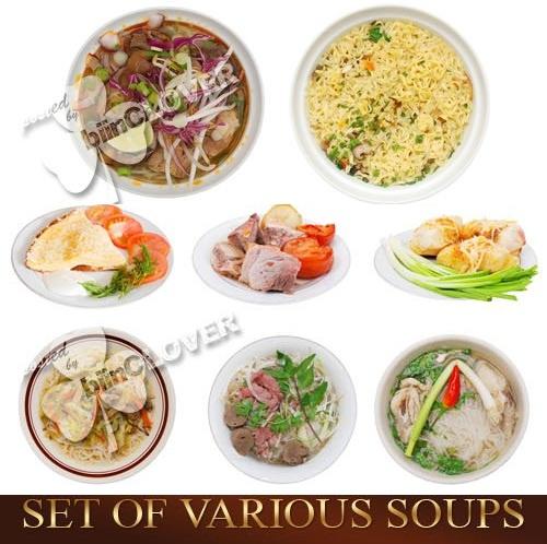 دانلود تصاویر استوک انواع مختلف سوپ Set of various soups
