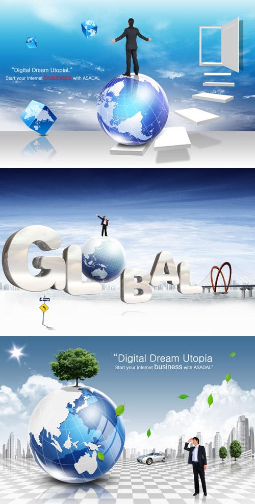 دانلود 3 طرح لایه باز تجاری برای فتوشاپ Sources - Business Development