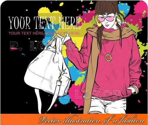 دانلود تصاویر وکتور نقاشی فشن Vector illustration of a fashion
