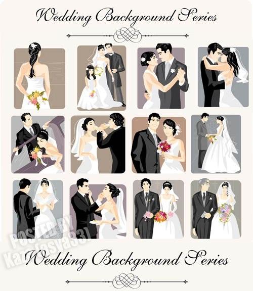 دانلود تصاویر وکتور بکگراند ازدواج Wedding Background Series