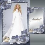 دانلود فریم و قاب عکس عروسی طراحی شده با گل رز Wedding Photoframe with white roses