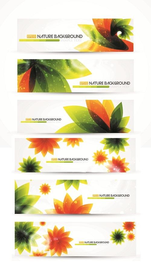 دانلود وکتور بنرهای انتزائی با الهام از طبیعت Abstract Natural Banners Vector