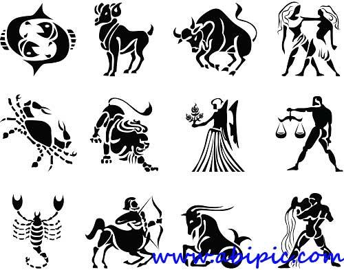 دانلود وکتور علائم و نشانه های زیبای زودیاک Beautiful Collection of Zodiac Signs