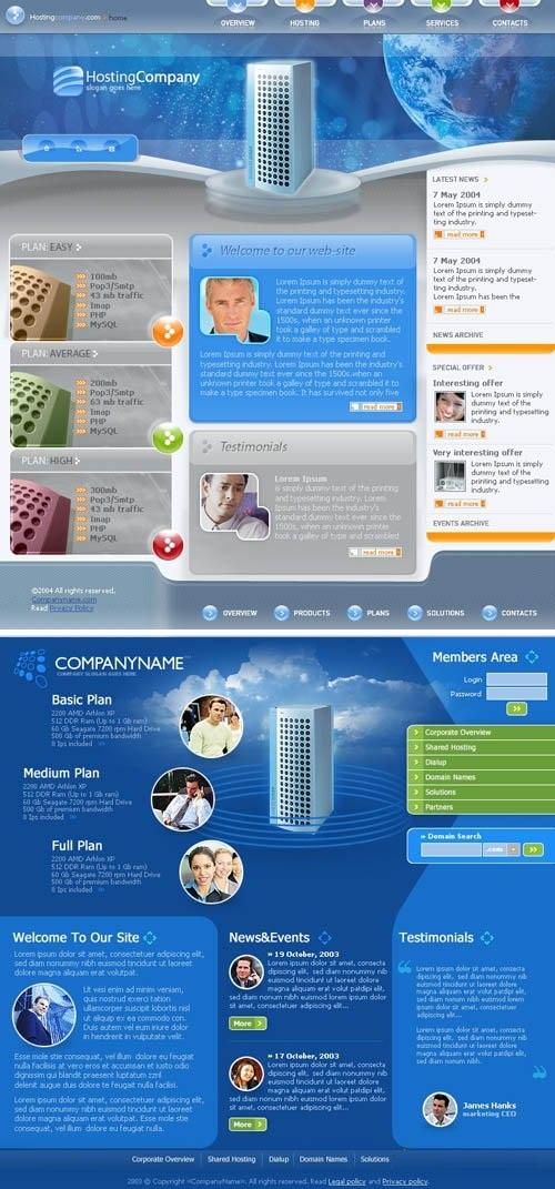 دانلود طرح لایه باز سایت برای فتوشاپ Blue Web Template pack for Photoshop