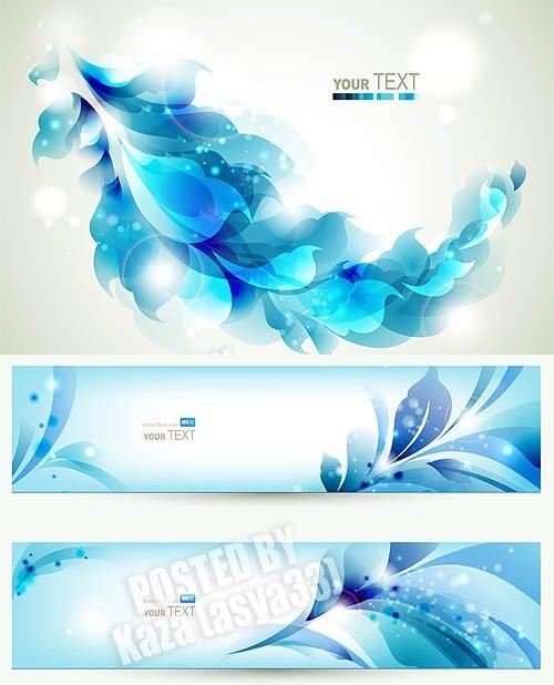 دانلود وکتور بنرهای آماده Blue floral banners